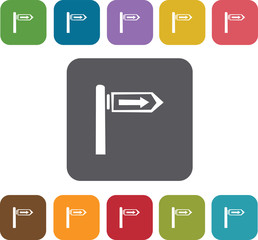 Direction icons set. Rectangle colorful 12 buttons. Illustration