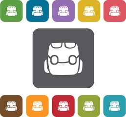 School Bag icons set. Rectangle colorful 12 buttons. Illustratio