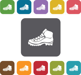 Hiking boot icons set. Rectangle colorful 12 buttons. Illustrati