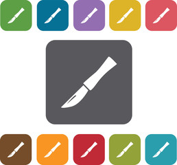knives icons set. Rectangle colorful 12 buttons. Illustration ep