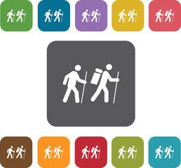 Hiking icons set. Rectangle colorful 12 buttons. Illustration ep