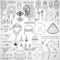 Collection of tribal doodle design elements.