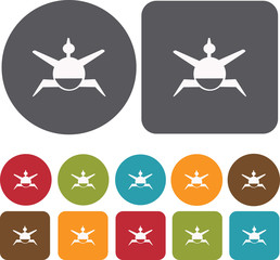 Sumo Japan icons set. Round and Rectangle colorful 12 buttons. I