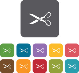 Scissors  icons set. Rectangle colorful 12 buttons. Illustration
