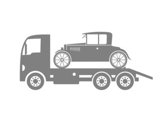 Grey tow truck and car on white background