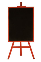 chalkboard in red wooden frame isolated on white background
