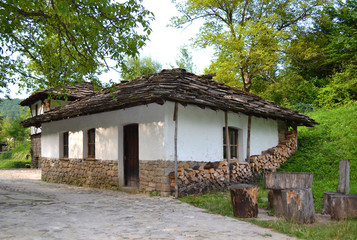 Traditional house from stone and wood