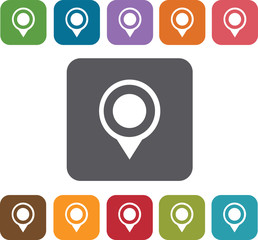 Pin Map Icons and Location Icons set. Rectangle colorful 12 butt