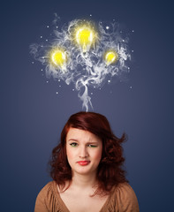 Thoughtful woman with smoke and lightbulbs above her head