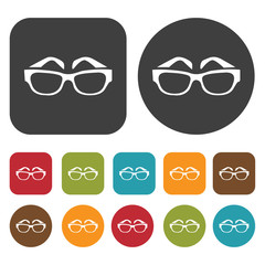Sunglasses Travel and vacation summer icons set. Round and Recta