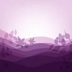 lilac background with waves and flowers
