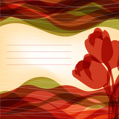 background with red tulips with a place for the signature