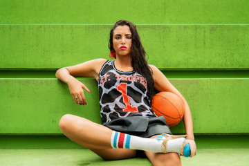 Woman relaxing after a basketball play