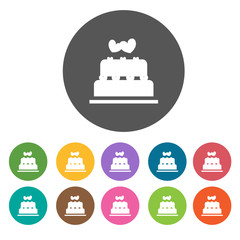 Wedding Cake. Valentines icons set. Round colorful 12 buttons. I
