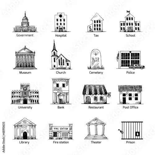 Government building icons set - 68910635