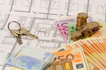 Bauplan, Schlüssel, Haus, Zeichnung, Eigenheim, Kauf