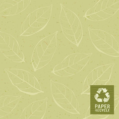 Paper recycle on leaf design backgroun