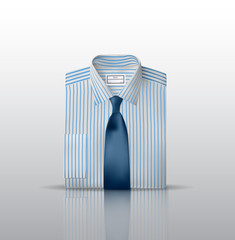 Folded white shirt with blue stripes