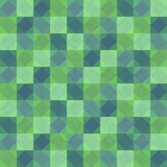 Deep green textured background with squares and rhombuses