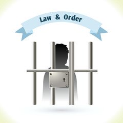 Law icon prisoner in jail