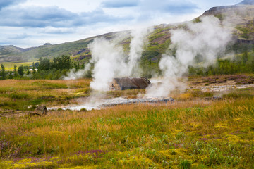 Geothermally active valley in Iceland.