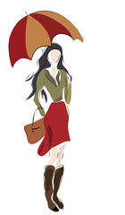 Woman with umbrella and bag