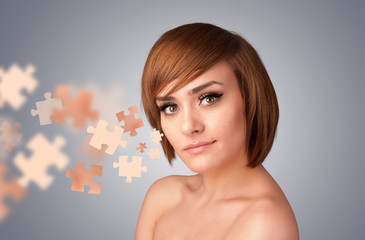 Pretty young girl with skin puzzle illustration