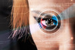 Cyber woman with technolgy eye looking
