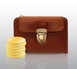 Leather wallet with stacked coins realistic icon
