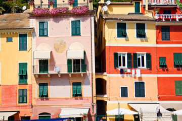 View on colorful houses in Portofino, Italy