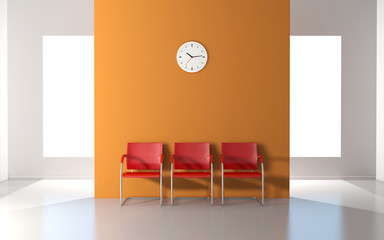 Three red chairs and wall clock in the waiting room