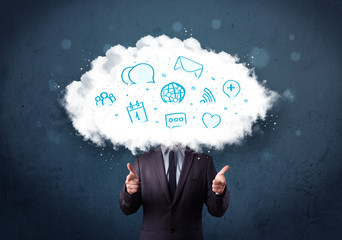 Man in suit with cloud head and blue icons