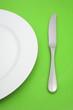 canvas print picture - Teller und Messer (grün)