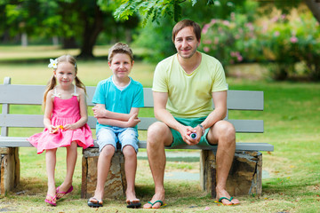 Father and kids outdoor
