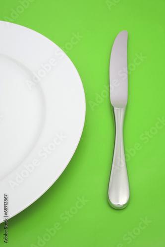 canvas print picture Teller und Messer (grün)