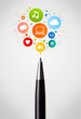 Pen close-up with social network icons