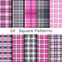 set of ten square patterns