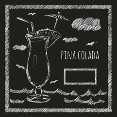 Cocktail pina colada on a blackboard menyu.kafe. bar.