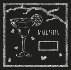 margarita cocktail on a blackboard menyu.kafe. bar. restaurant