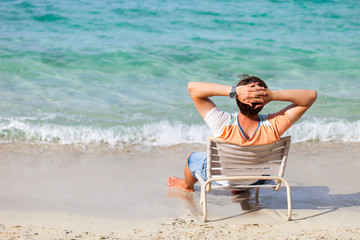 Man relaxing at beach