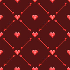 Vector seamless pattern with polygonal hearts and arrows