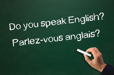 English speaking? Questions on chalkboard