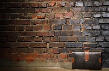 retro bag on brick wall background