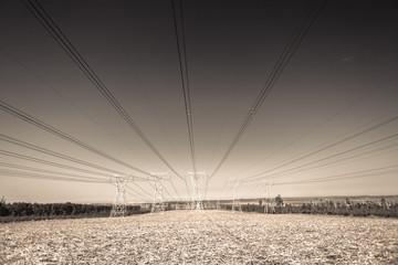 Electricity Power-lines landscape Vintage