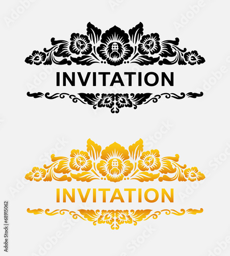 Aluminium Floral Ornament Invitation floral ornament decoration element