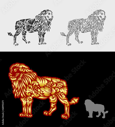Aluminium Floral Ornament Lion pattern floral ornament decoration