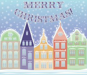 Happy Marry Christmas winter city postcard, vector