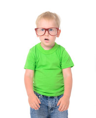 funny boy with glasses in green t-shirt