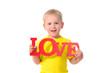 canvas print picture - portrait of little boy holding inscription
