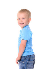 portrait of fashionable little boy in blue t-shirt